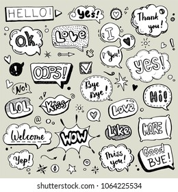 Hand drawn set of speech bubbles with dialog text: Hi, Love, Yes, Welcome, Bye. 