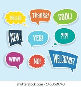 Hand drawn set of speech bubbles with short messages yes, thanks, hello, wow, cool, no, hello, new. Vector illustration
