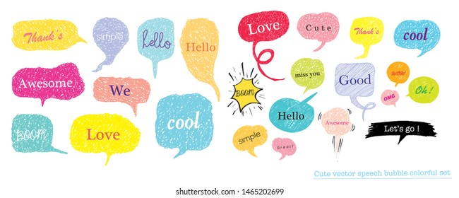 Hand drawn set of speech bubbles with dialog words for Business and Teen, Business Vector bubbles speech doodle set,Colorful speech bubbles for decoration of kids' illustrations, comics, banners,teen