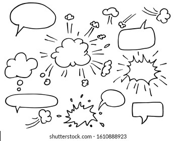 Hand drawn set of speech bubbles. doodle Vector illustration