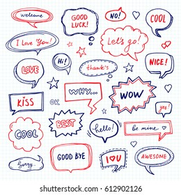 Hand drawn set of speech bubbles with dialog words: Hello, Sorry, Welcome. School style