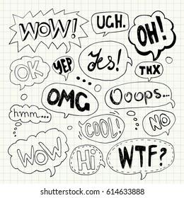 Hand drawn set of speech bubbles with handwritten text: Yes,Wow,Oh,Thx, Ooops,Wtf,Cool,Omg,Ok,Hmm...,No,Ugh,Yep,Ok,Hi