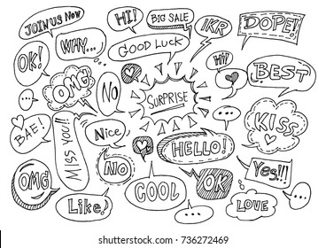 Hand drawn set of speech bubbles with dialog words.- Vector illustration.