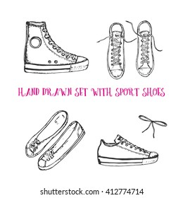 hand drawn set with sport shoes: sneakers, flat shoes, sport shoes, upper view, front view, bow or shoelace. Vector stock illustration for shoe shop. Converse all stars sneakers.