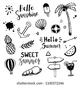 Hand drawn set of summer doodle elements: umbrella, ball, shell, pineapple, anchor, ice-cream, sun, coctail. Cartoon style vector illustration for icon, party banner, summer labels design.