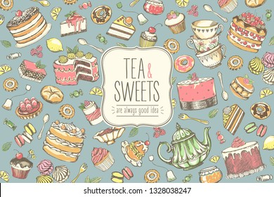 Hand drawn set of sweet food ingredient. Big collection pastries and tea accessories. Vintage posters with freehand drawing, sketch