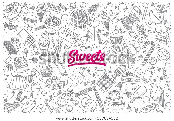 Hand drawn set of sweets doodles with bright lettering in vector