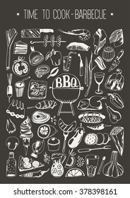 Hand drawn set Time to cook - Barbecue