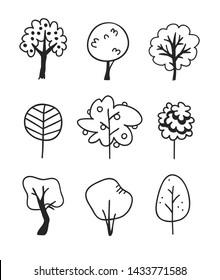 Hand drawn set of trees. Eco background. Abstract  doodle drawing woods. Vector art illustration plants