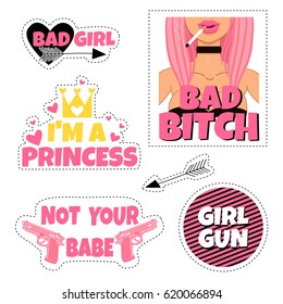 Hand drawn set with trendy stickers. Funny pins for girl. Vector collection. I'm a princess. Girl gun. Not your baby. Bad girl.