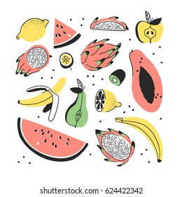 Hand drawn set of tropical fruits. Vector artistic seamless pattern with food. Summer illustration watermelon, banana, pitaya, papaya, pear, apple, lemon, passion fruit and kiwi
