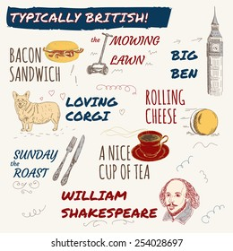 Hand drawn set of typically british habits, as rolling cheese, Big Ben, bacon sandwich, Sunday roast, mowing loan