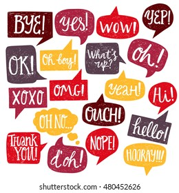 Hand drawn set of varicolored speech bubbles with handwritten short phrases yes, thank you, bye, ok, hooray, omg, wow, oh boy, xoxo, what's up, ouch, oh, yeah, oh no, nope, yep, hello