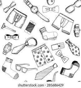 Hand drawn set of various Fathers day icons