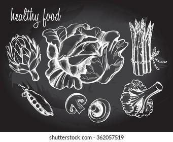 Hand drawn set of vegetables - artichoke, peas, champignon, asparagus, cabbage, broccoli.