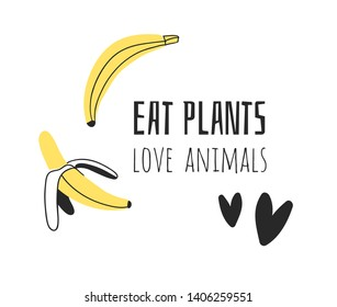 Hand drawn set of vegetables, fruits and eco friendly words. Vector artistic doodle drawing food and Vegan quote. Vegetarian illustration and positive text EAT PLANTS, LOVE ANIMALS