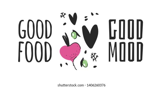 Hand drawn set of vegetables, fruits and eco friendly words. Vector artistic doodle drawing food and Vegan quote. Vegetarian illustration and positive text GOOD FOOD, GOOD MOOD
