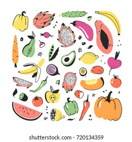 Hand drawn set of vegetables and fruits. Vector artistic drawing food. Vegan illustration pumpkin, potato, pepper, beetroot, eggplant, tomato, cucumber, avocado, carrot, lemon, banana, watermelon