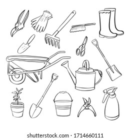 Hand drawn set of vintage isolated garden equipment tools. Vector illustration. Doodle style