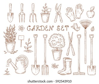 hand drawn set of vintage isolated garden equipment silhouettes