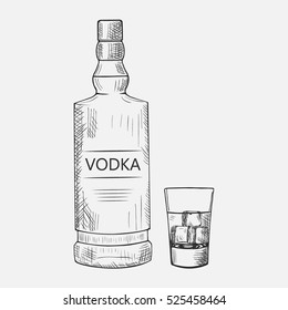 Hand drawn set of vodka composition. Vector illustration used for advertising beverage in restaurant or bar menu, for alcohol markets and logo design.