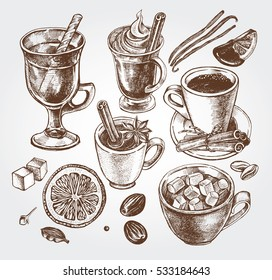 Hand drawn set of warming beverages. Vector isolated elements, collection of hot drinks and spices. Template for menu design, posters, flyers.