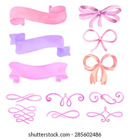 Hand Drawn set of watercolor elements banners, ribbons, bows, calligraphic