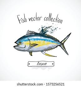 Hand drawn set watercolor ink, menu restaurant, sketch cartoon print vector illustration, sea food