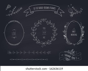 Hand drawn set of wedding wreaths and ribbons. EPS 10. Transparency. No gradients.