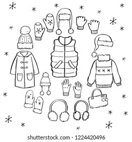 Hand drawn set of winter clothes and accessory: hat, scarf, coat, mitten, shoes, sweater. Sketch style doodle for children, christmas design. Isolated vector illustration.