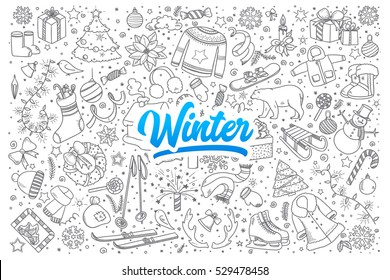 Hand drawn set of winter doodles with blue lettering in vector