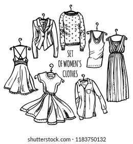 b33edbc1d0a Hand drawn set of women s clothes on hangers  dresses