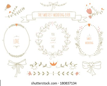 Hand drawn set of wreaths, ribbons, laurel and labels on blackboard. No transparency. No gradients.