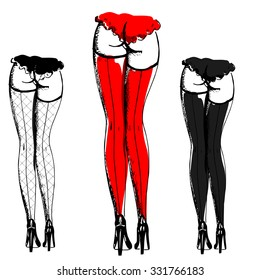 Hand drawn sexy woman stockings in three colors - black heels with red, black and fishnet stockings with lingerie, vector illustration