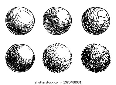 Hand drawn shaded spheres. Simple black and white pen and ink doodle sketches of circles with different types of shading texture. Shading tutorial, organic hand drawn design elements.