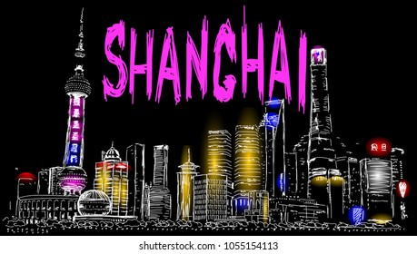 Hand drawn Shanghai street vector for t shirt printing, Graphic tee & Printed tee