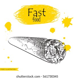 Hand drawn shawarma isolated on white background with yellow blots. Fast food sketch elements vector illustration.