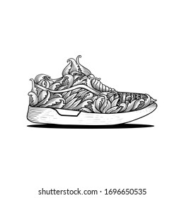 hand drawn shoes sneaker ornament engraving style, can be used for tattoo, t shirt design, poster, promotion, decoration, painting, coloring.