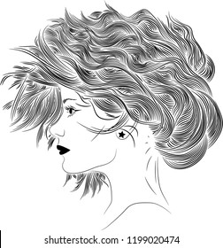hand drawn side profile young woman stock vector royalty free