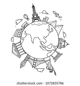 hand drawn sight seeing and landmark around the world. doodle black and white background.