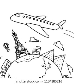 hand drawn sight seeing and landmark around the world with the plane. doodle black and white background