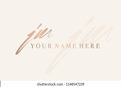 Hand drawn signature style jm monogram.Script style vector icon in metallic rose gold color isolated on light background.Lettering logo with initials.