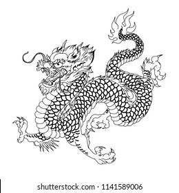 Hand drawn Silhouette dragon.Chinese dragon tattoo.Black and white Traditional Japanese dragon.Dragon coloring book.