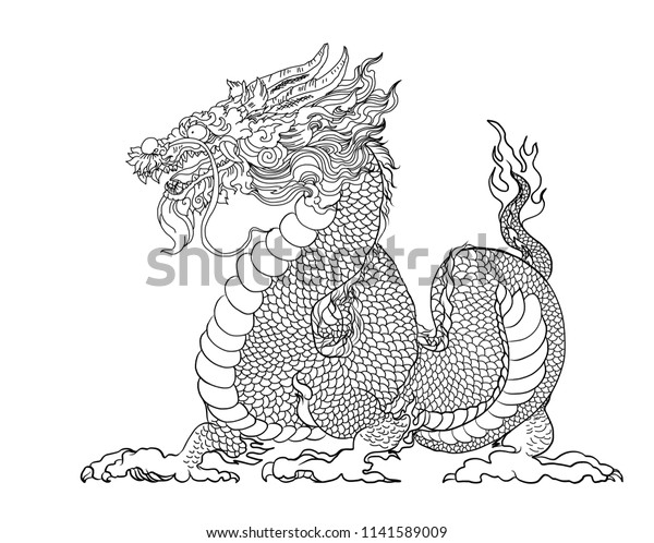 Hand Drawn Silhouette Dragonchinese Dragon Tattooblack Stock Vector