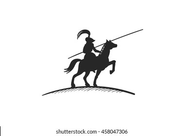 Hand drawn silhouette of knight on horse with spear on white background. Vector illustration.