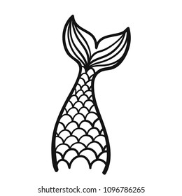 Hand drawn silhouette of mermaid tail. Vector illustration isolated on white background. Contour graphic tattoo.