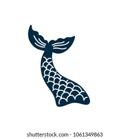 Hand drawn silhouette of mermaid's tail. Vector icon isolated on white background. Graphic tattoo.
