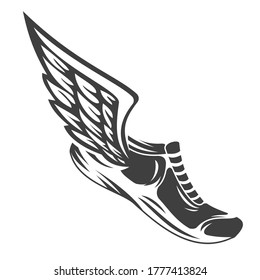 Winged Running Shoe Images, Stock