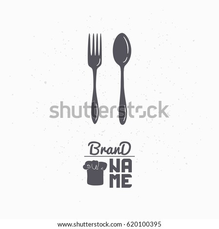 Hand Drawn Silhouette Spoon Fork Restaurant Stock Vector Royalty