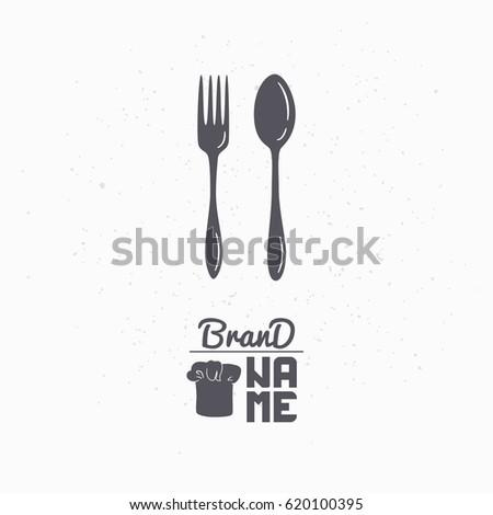 Hand Drawn Silhouette Spoon Fork Restaurant Stock Vector Royalty